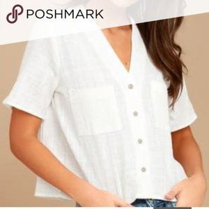 TopShop V-Neck Button Down White Short Sleeve Tee